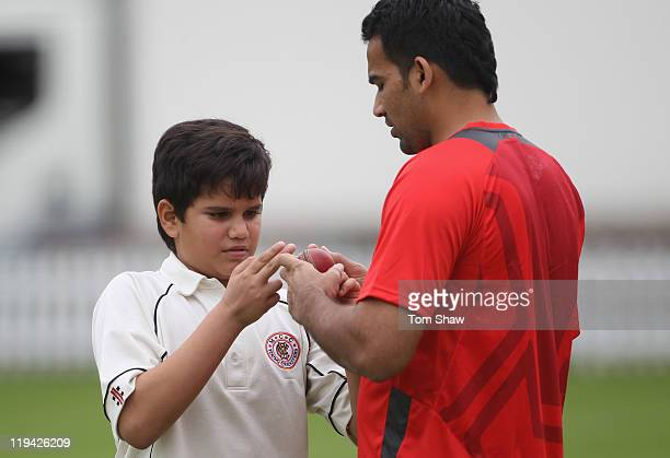 Arjun Tendulkar son of Sachin Tendulkar has a chat with Zaheer Khan of India during the India nets session at Lord's Cricket Ground on July 20 2011...