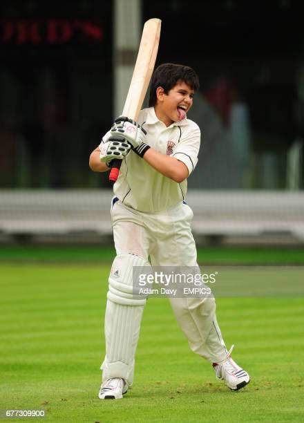 Arjun Tendulkar son of Sachin Tendulkar plays a few shots at Lord's during the nets session