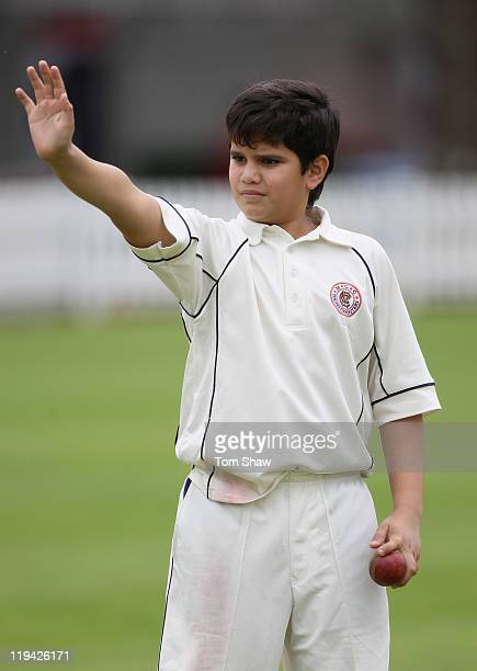 Arjun Tendulkar son of Sachin Tendulkar plays cricket on the outfield during the India nets session at Lord's Cricket Ground on July 20 2011 in...