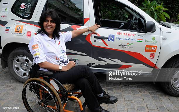 Arjuna Awardee Para athlete Deepa Malik who completed record of covering 9 cities and a distance of over 3000 kms in 10 days on September 30 2013 in...