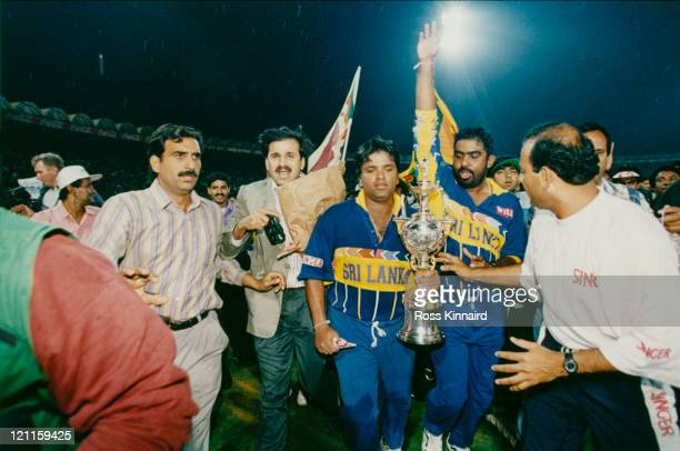 Arjuna Ranatunga and Asanka Gurusinha with the Cricket World Cup trophy after Sri Lanka beat Australia in the final Lahore 17th March 1996