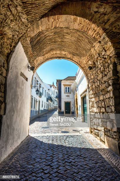 ark of faro town hall, algarve region, portugal - faro stock photos and pictures