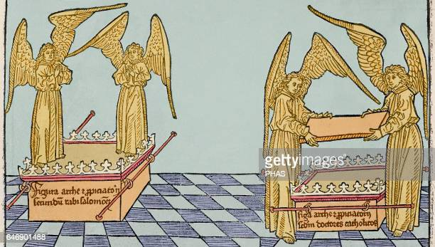 Ark of the Covenant Engraving 16th century Colored