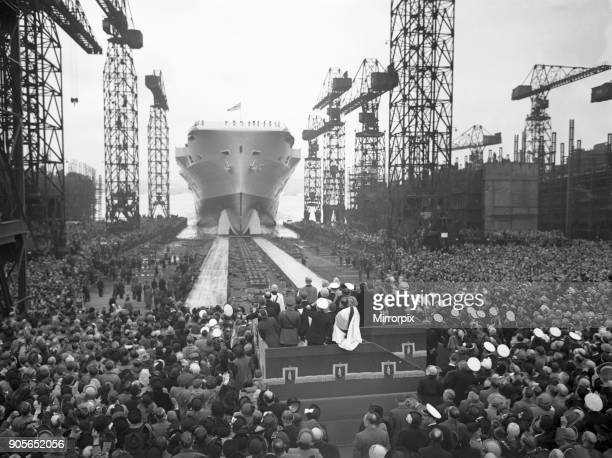 HMS Ark Royal is launched at Cammell Laird shipyard Birkenhead Merseyside 3rd May 1950