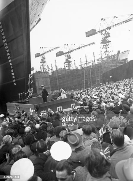 HMS Ark Royal is launched at Cammell Laird shipyard Birkenhead Merseyside 3rd May 1950 Queen Elizabeth arrives at Bromborough railway station ahead...