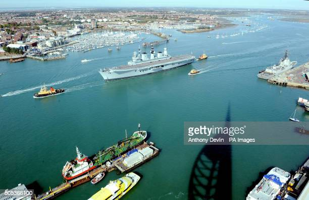 HMS Ark Royal takes to the seas in Portsmouth Harbour following a 12 million refurbishment