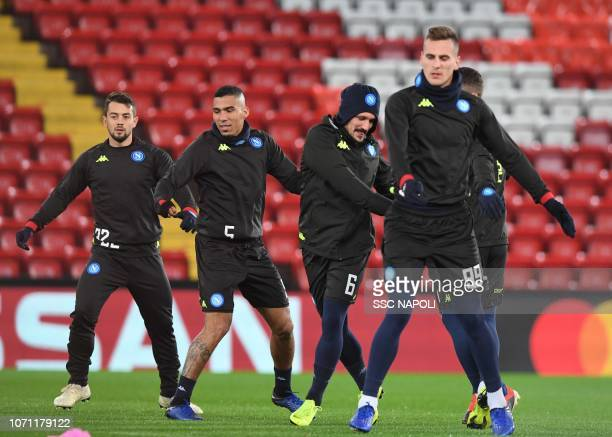 Arkadius Milik Marques Allan Mariorui Amin Younes during the SSC Napoli Training Session on December 10 2018 in Liverpool United Kingdom