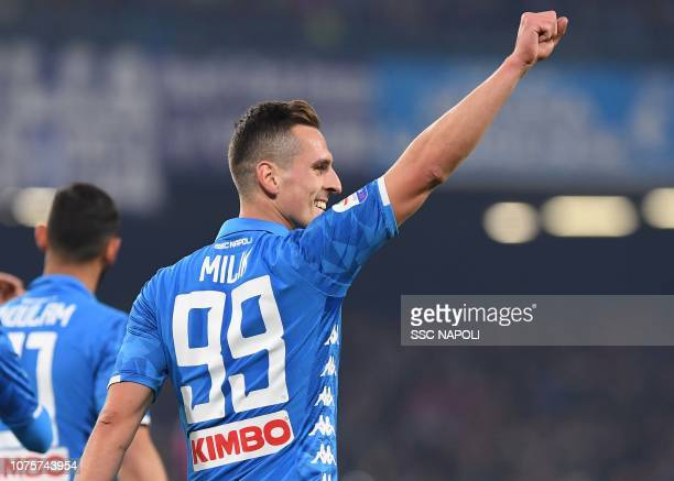 Arkadius Milik of Napoli celebrates after scoring the first goal of his team during the Serie A match between SSC Napoli and Bologna FC at Stadio San...