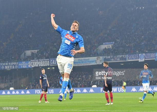Arkadius Milik of Napoli celebrates after scoring the second goal of his team during the Serie A match between SSC Napoli and Bologna FC at Stadio...