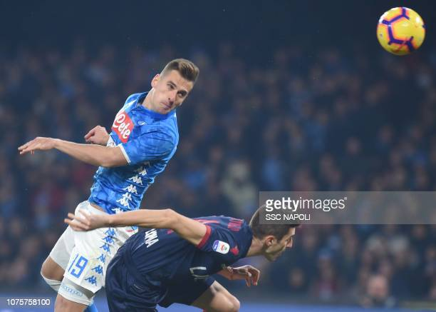 Arkadius Milik of Napoli scores the 21 goal during the Serie A match between SSC Napoli and Bologna FC at Stadio San Paolo on December 29 2018 in...