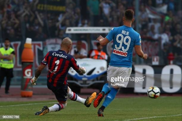 Arkadiusz Milik AND Alex Cordaz during the Italian Serie A football SSC Napoli v FC Crotone at S Paolo Stadium in Naples on May 20 2018