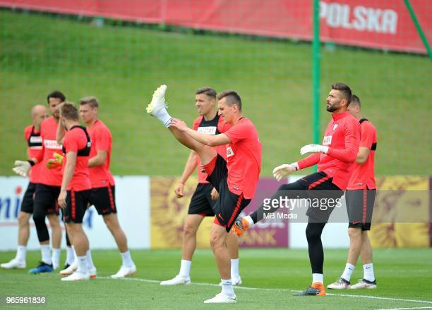 Arkadiusz Milik and Bartosz Bialkowski during a training session of the Polish national team at Arlamow Hotel during the second phase of preparation...