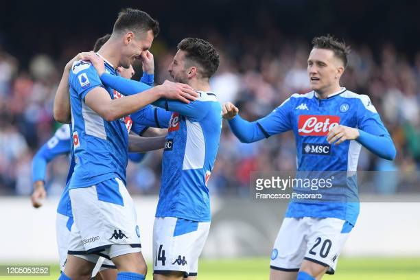 Arkadiusz Milik and Dries Mertens of SSC Napoli celebrate the 1-1 goal scored by Arkadiusz Milik during the Serie A match between SSC Napoli and US...