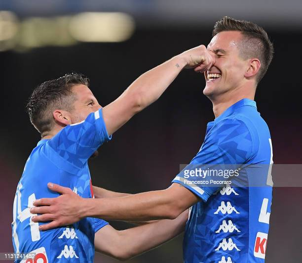 Arkadiusz Milik and Dries Mertens of SSC Napoli celebrate the 32 goal scored by Arkadiusz Milik during the Serie A match between SSC Napoli and...