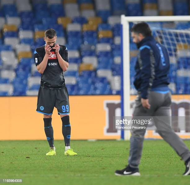 Arkadiusz Milik and Gennaro Gattuso of SSC Napoli look dejected during the Serie A match between SSC Napoli and Parma Calcio at Stadio San Paolo on...