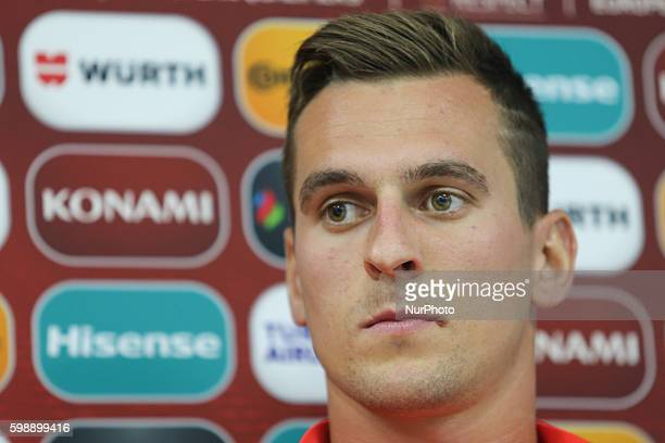 Arkadiusz Milik during press conference Kazakhstan v Poland FIFA World Cup 2018 qualifier on September 3 2016 in Astana Kazakistan