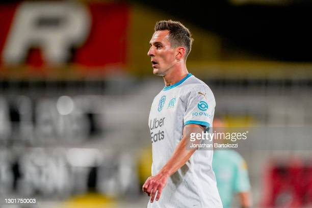 Arkadiusz Milik during the Ligue 1 match between RC Lens and Olympique Marseille at Stade Bollaert-Delelis on February 03, 2021 in Lens, France.