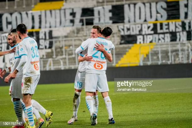 Arkadiusz Milik goal celebration and Florian Thauvin during the Ligue 1 match between RC Lens and Olympique Marseille at Stade Bollaert-Delelis on...