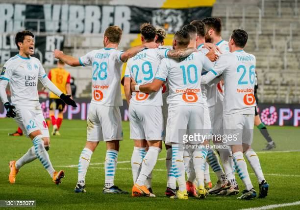 Arkadiusz Milik goal celebration and OM players during the Ligue 1 match between RC Lens and Olympique Marseille at Stade Bollaert-Delelis on...