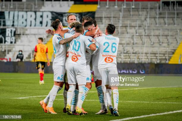 Arkadiusz Milik goal celebration with OM players during the Ligue 1 match between RC Lens and Olympique Marseille at Stade Bollaert-Delelis on...