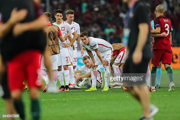 Arkadiusz Milik Jakub Blaszczykowski during the UEFA EURO 2016 quarter final match between Poland and Portugal at Stade Velodrome on June 30 2016 in...