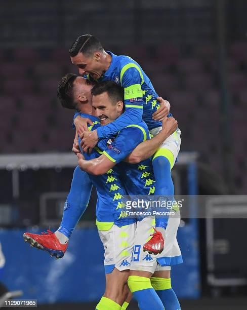 Arkadiusz Milik Jose Callejon Fabian Ruiz of SSC Napoli celebrate the 20 goal scored by Fabian Ruiz during the UEFA Europa League Round of 16 First...