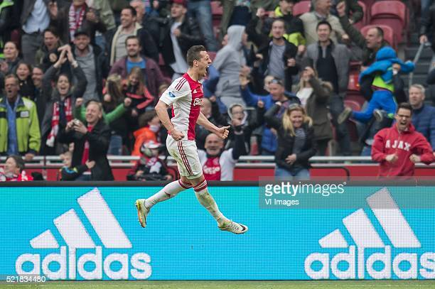 Arkadiusz Milik of Ajax celebrate his goal during the Dutch Eredivisie match between Ajax and FC Utrecht at the Amsterdam Arena on april 17 2016 in...