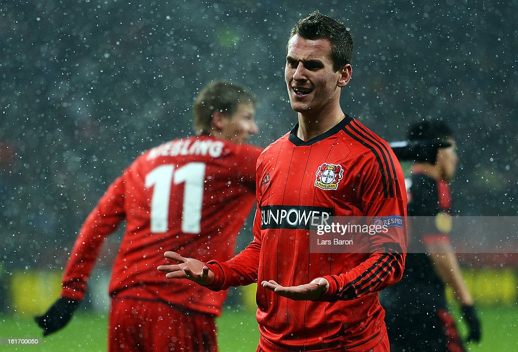 Arkadiusz Milik of Leverkusen reacts during the UEFA Europa League Round of 32 first leg between Bayer 04 Leverkusen and SL Benfica at BayArena on February 14, 2013 in Leverkusen, Germany.