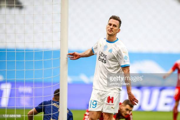 Arkadiusz MILIK of Marseille looks dejected during the Ligue 1 match between Olympique Marseille and Brest at Stade Velodrome on March 13, 2021 in...