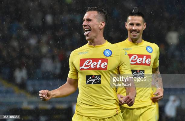 Arkadiusz Milik of Napoli celebrate after score 01 during the serie A match between UC Sampdoria and SSC Napoli at Stadio Luigi Ferraris on May 13...