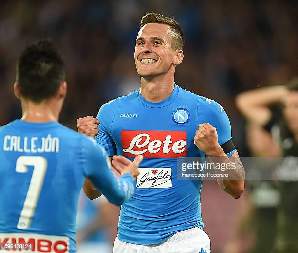 Arkadiusz Milik of Napoli celebrates after scoring goal 10 during the Serie A match between SSC Napoli and AC Milan at Stadio San Paolo on August 27...