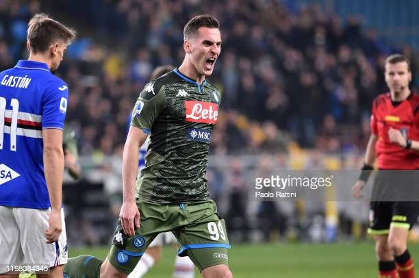 Arkadiusz Milik of Napoli celebrates after scoring the first goal during the Serie A match between UC Sampdoria and SSC Napoli at Stadio Luigi...