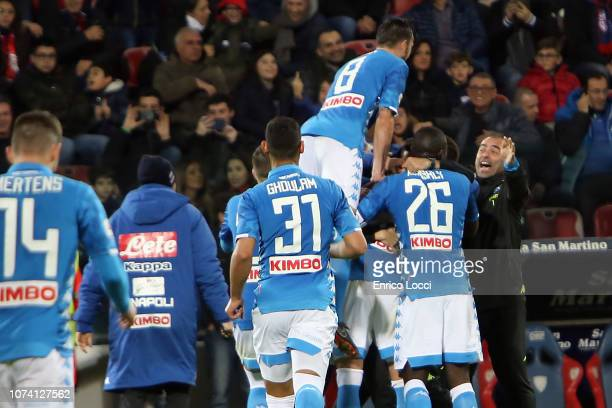 Arkadiusz Milik of Napoli celebrates his goal 01 during the Serie A match between Cagliari and SSC Napoli at Sardegna Arena on December 16 2018 in...
