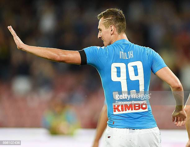 Arkadiusz Milik of Napoli in action before the Serie A match between SSC Napoli and AC Milan at Stadio San Paolo on August 27 2016 in Naples Italy
