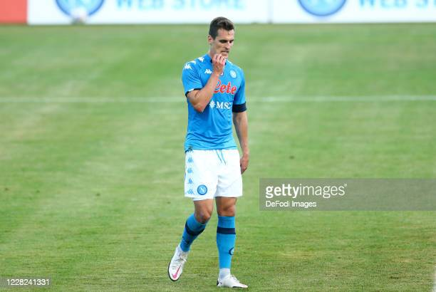 Arkadiusz Milik of Napoli looks dejected during the pre-season friendly match between SSC Napoli and Castel Di Sangro at Stadio Comunale Teofilo...