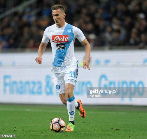 Arkadiusz Milik of Napoli player during the Serie A match between FC Internazionale and SSC Napoli at Stadio Giuseppe Meazza on April 30 2017 in...