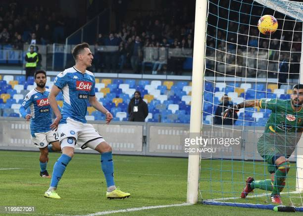 Arkadiusz Milik of Napoli scores the 1-1 goal during the Serie A match between SSC Napoli and US Lecce at Stadio San Paolo on February 9, 2020 in...