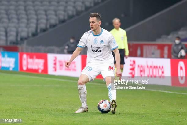 Arkadiusz Milik of Olympique de Marseille controls the ball during the Ligue 1 match between Lille OSC and Olympique de Marseille at Stade Pierre...