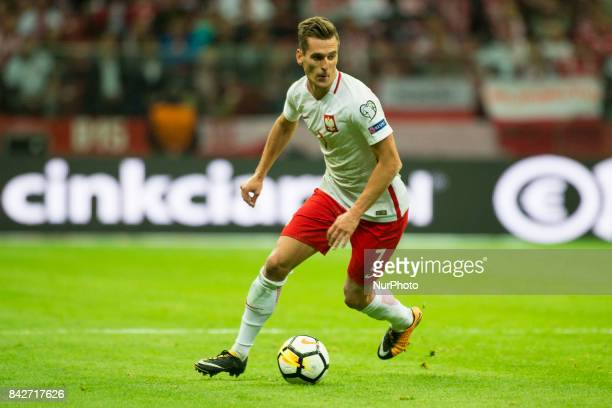 Arkadiusz Milik of Poland cintrols the ball during the FIFA World Cup 2018 Qualifying Round match between Poland and Kazakhstan at National Stadium...