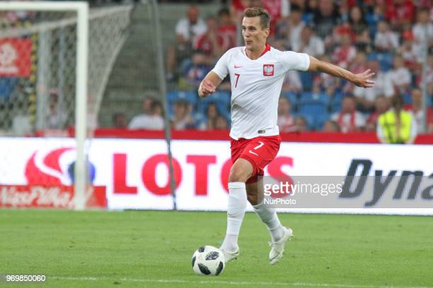 Arkadiusz Milik of Poland controls the ball during International Friendly match between Poland and Chile on June 8 2018 in Poznan Poland