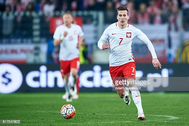 Arkadiusz Milik of Poland controls the ball during the international friendly soccer match between Poland and Serbia at the Inea Stadium on March 23...