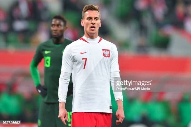 Arkadiusz Milik of Poland looks on during the international friendly match between Poland and Nigeria at the Municipal Stadium on March 23 2018 in...