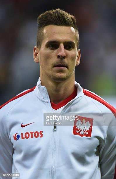 Arkadiusz Milik of Poland looks on prior to the EURO 2016 Qualifier Group D match between Germany and Poland on September 4 2015 in Frankfurt am Main...