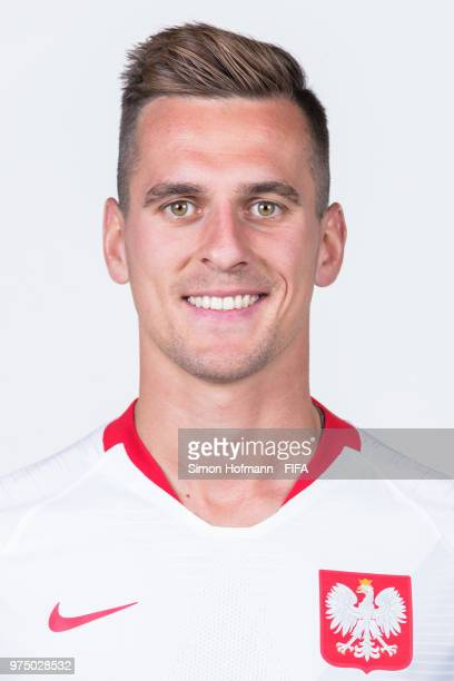 Arkadiusz Milik of Poland poses during the official FIFA World Cup 2018 portrait session at Hyatt Regency Hotel on June 14 2018 in Sochi Russia