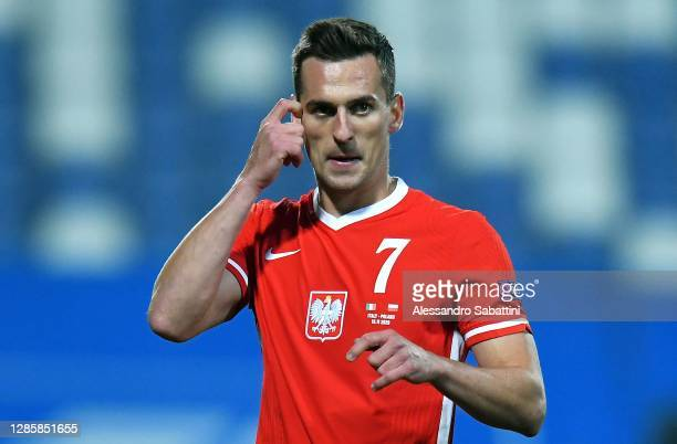 Arkadiusz Milik of Poland reacts during the UEFA Nations League group stage match between Italy and Poland at Mapei Stadium - Citta' del Tricolore on...