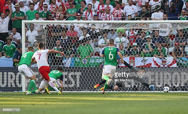 Arkadiusz Milik of Poland scores the opening goal during the UEFA EURO 2016 Group C match between Poland v Northern Ireland at Allianz Riviera...