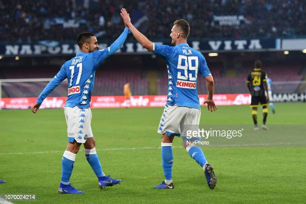 Arkadiusz Milik of SSC Napoli and Adam Ounas of SSC Napoli celebrates during the Serie A TIM match between SSC Napoli and Frosinone Calcio at Stadio...