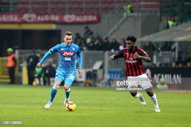 Arkadiusz Milik of Ssc Napoli and Franck Kessie of Ac Milan in action during Coppa Italia quarterfinals football match between Ac Milan and Ssc...