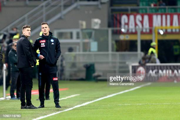 Arkadiusz Milik of Ssc Napoli and Krzysztof Piatek of Ac Milan before the Serie A football match between Ac Milan and Ssc Napoli The match end in a...
