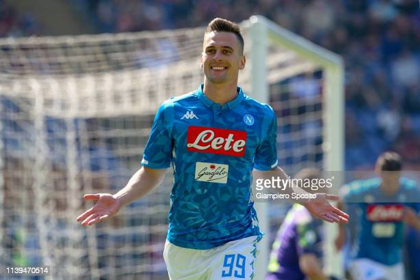 Arkadiusz Milik of SSC Napoli celebrates after scoring a goal during the Serie A match between AS Roma and SSC Napoli at Stadio Olimpico on March 31...